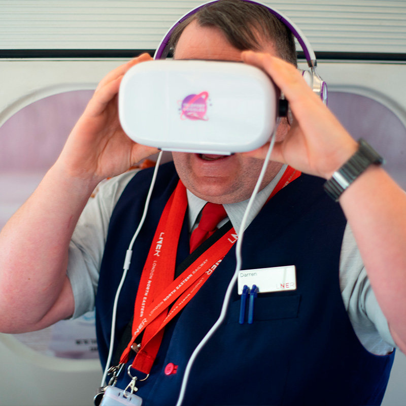 LNER staff member enjoying his first AR experience